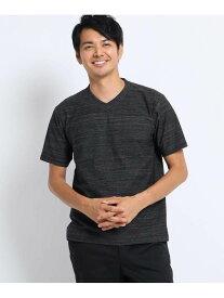 【SALE/40%OFF】TAKEO KIKUCHI メランジ梨地VネックTシャツ タケオキクチ カットソー Tシャツ ブラック ネイビー【送料無料】