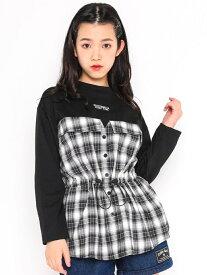 【SALE/64%OFF】ZIDDY チェックシャツ ドッキング ロゴTシャツ(130~160cm) ベベ オンライン ストア カットソー Tシャツ ブラック ベージュ