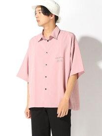 【SALE/33%OFF】WEGO 0/(M)ロゴプリントオーバーシャツ(S) ウィゴー シャツ/ブラウス 半袖シャツ ピンク ブラック レッド