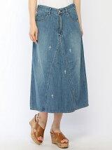 ゴールドサボテン刺繍デニムロングスカート