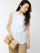 (W)コットンストライプノースリーブシャツ