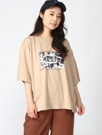 【SALE/36%OFF】WEGO 0/(L)フロントフォトロゴプリントT ウィゴー カットソー Tシャツ ベージュ ホワイト レッド