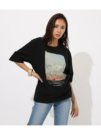 AZUL by moussy SANCLEMENTEPhotoTEE アズールバイマウジー カットソー カットソーその他 ブラック ホワイト イエロー