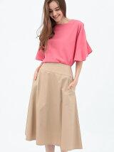 綿サテンフレアスカート