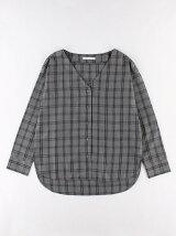 チェックVネックシャツ