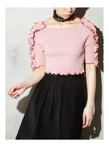 BI-COLLAR TRIMMED KNIT TOP