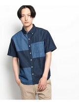 【WEB限定】デニムブロッキング半袖シャツ