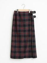 サキソニーチェックベルトラップスカート