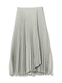 【SALE/60%OFF】Ray BEAMS Ray BEAMS / ストライプ プリーツ ラップスカート ビームス ウイメン スカート ロングスカート ブラウン ベージュ【送料無料】