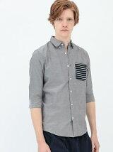 デザインポケット七分袖シャツ