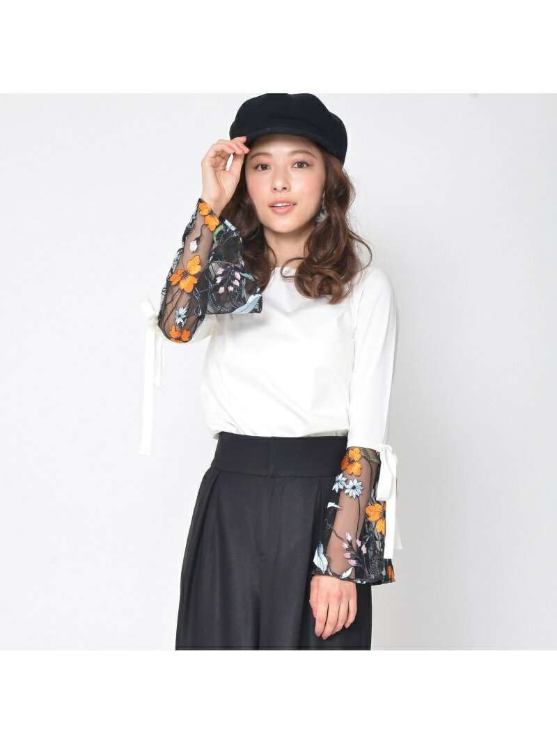 【SALE/65%OFF】QUEENS COURT 刺繍コンビカットソー クイーンズコート カットソー【RBA_S】【RBA_E】【送料無料】