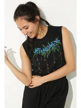 ブルーフラワー刺繍タンクTOP