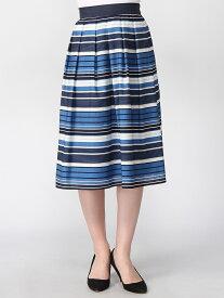 【SALE/69%OFF】ANNA LUNA 麻調ボーダースカート アンナルナ スカート フレアスカート ブルー ネイビー