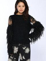 フリンジ袖セーター