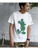 【ユニセックス】袖スター刺繍 シルエットTシャツ(ミッキーマウス)