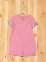(K)スラブ袖柄AラインTシャツ・カットソーDF