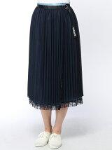 プリーツデニムコンビスカート