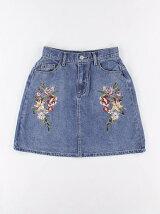 花柄刺繍デニムスカート