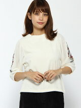 C・ベロア袖チュール刺繍/TOPS