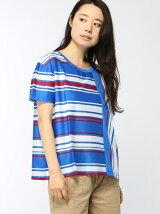 (W)ストライプコットンTシャツ