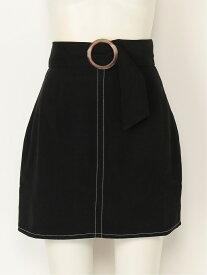 【SALE/33%OFF】titty&Co. ベルト付ミニスカート ティティー アンド コー スカート ミニスカート ブラック グリーン ピンク【送料無料】
