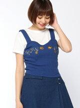 【JUNIOR SWEET】(L)刺繍ピチリブキャミレイヤードT