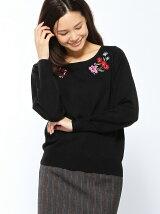 花刺繍ニット