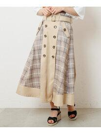 【SALE/70%OFF】Ray Cassin 配色トレンチスカート レイカズン スカート 台形スカート/コクーンスカート ブルー ネイビー ベージュ