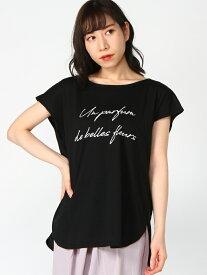 【SALE/50%OFF】Lilou de chouchou バックシャンロゴカットソー リルデシュシュ カットソー Tシャツ ブラック ホワイト レッド ベージュ