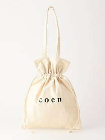 【SALE/28%OFF】coen 【WEB限定】coenロゴトート巾着バッグ コーエン バッグ トートバッグ ホワイト ブラック