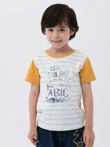 手描きボーダープリント半袖Tシャツ