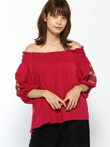 S・PEツイル袖刺繍シャーリングオフショル