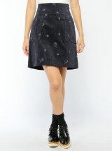 コーデュロイ刺繍台形スカート