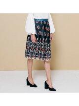 チュールトリコロール刺繍スカート