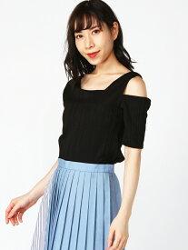 【SALE/50%OFF】Lilou de chouchou テレコ変形襟半袖Tシャツ リルデシュシュ カットソー Tシャツ ブラック ホワイト ブラウン パープル
