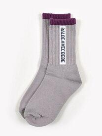 BeBe テープ風 ロゴ ライン ソックス (11cm ~24cm) ベベ オンライン ストア ファッショングッズ ソックス/靴下 グレー ホワイト