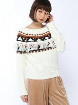 フリンジ付ノルディックセーター