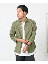 綿麻ホリゾンタルカラー7分袖シャツ