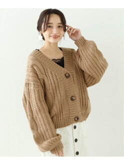 frames RAY CASSIN cable short cardigan lei cousin knit long sleeves knit beige orange white