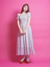 フラワープリントシャーリングロングドレス
