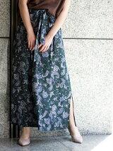 ペイズリーウエストリボンロングスカート