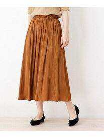 【SALE/33%OFF】SHOO・LA・RUE ナイルサテンギャザースカート シューラルー スカート ロングスカート ブラウン カーキ ネイビー
