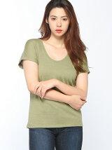 (W)コットンUネック半袖Tシャツ・カットソー