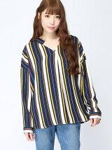 (L)ストライプスキッパーシャツ