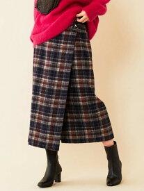 BEAUTY & YOUTH UNITED ARROWS BY∴チェックシャギーラップスカート ビューティ&ユース ユナイテッドアローズ スカート ロングスカート ネイビー ブルー【送料無料】