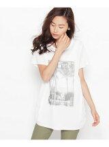 レイヤードチュールプリントTシャツ