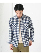 リネン混ブロックチェックシャツ