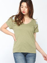 (W)コットン刺繍Uネック半袖Tシャツ・カットソー