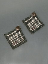 meatl mesh scarfprint earrings