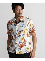 和柄プリントオープンカラーシャツ